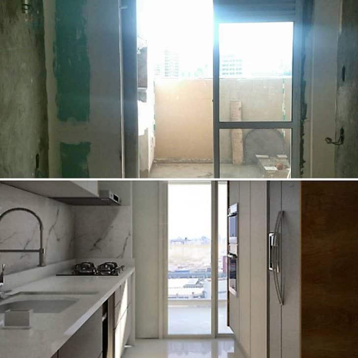 etapas de uma reforma cozinha antes e depois