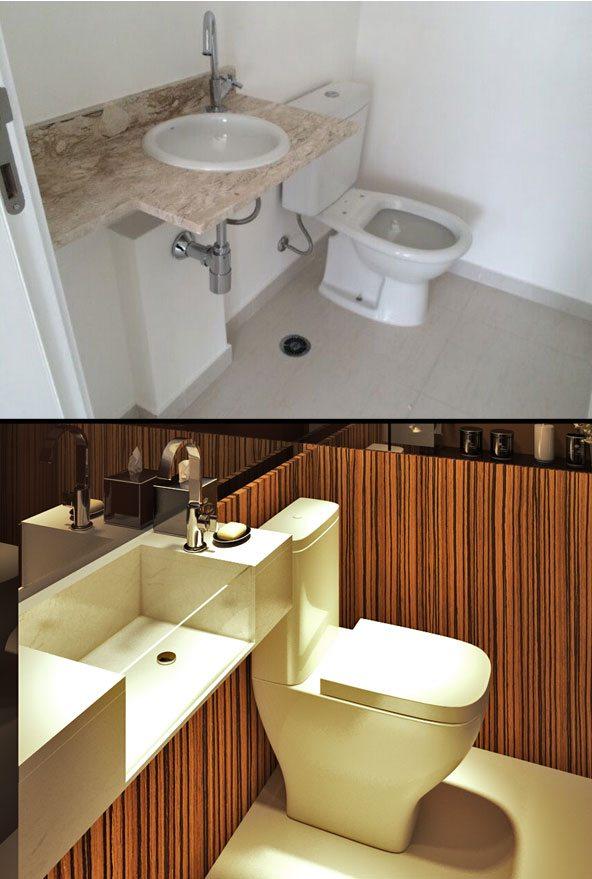 etapas de uma reforma - lavabo antes e depois