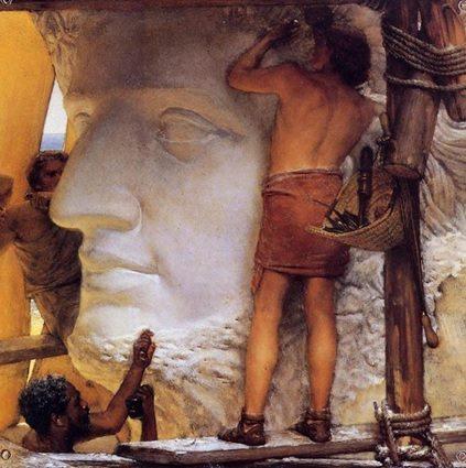 Escultura de Nero no momento de sua execução