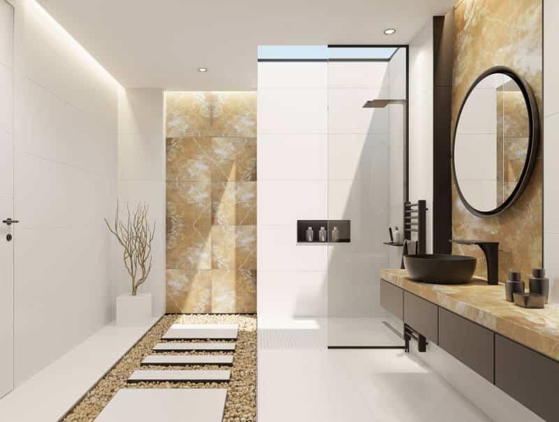 Banheiro com pedra ônix.
