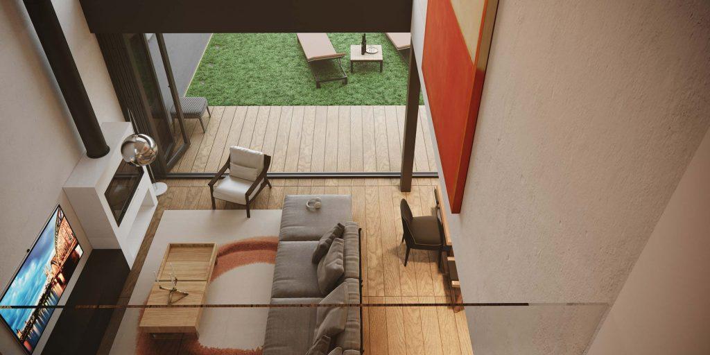 foto casa em 3D vista de cima.