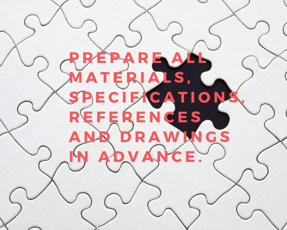 Materiais específicados e de referência.