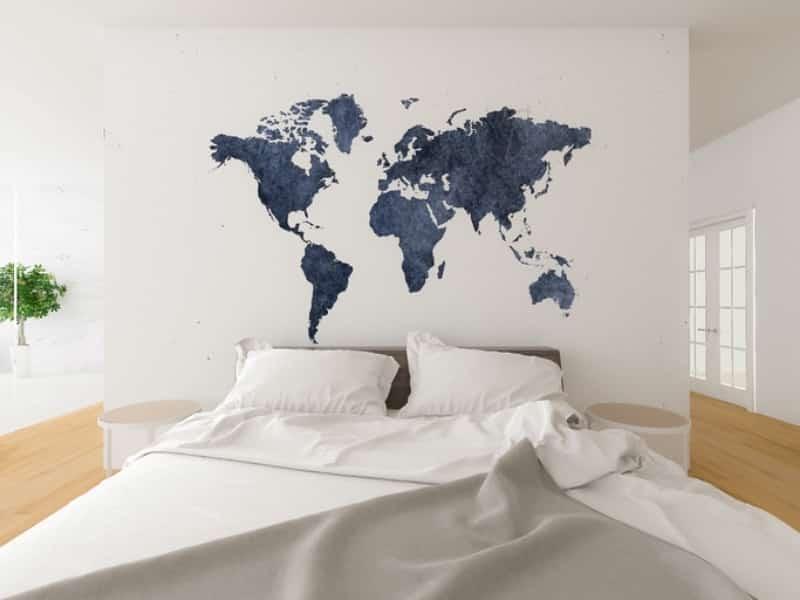 Quarto de casal com paredes destacada em mapa.