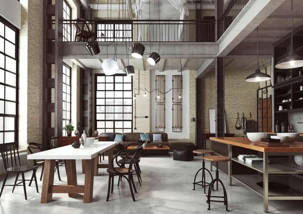 sala com decoração industrial - Como projetar um espaço aberto em um pequeno espaço?