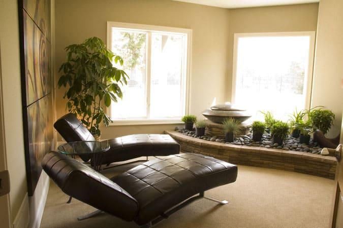 Sala decorada com plantas.