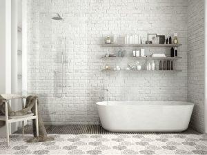 Banheiro branco fosco.