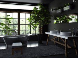 Banheiro com janela grande e um vaso de planta.