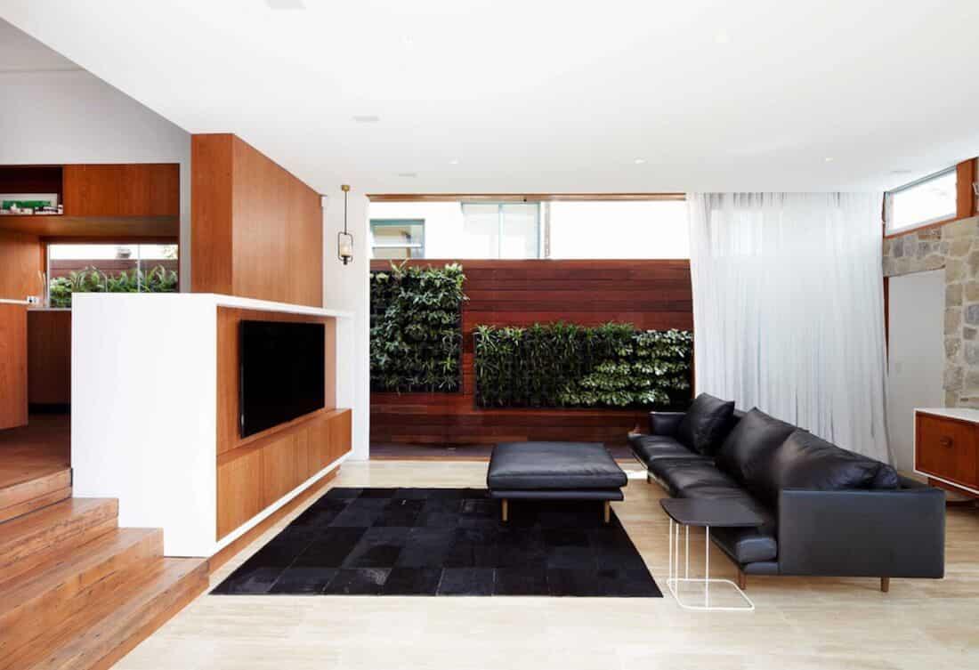 Sala de estar com parede de madeira e vegetação.