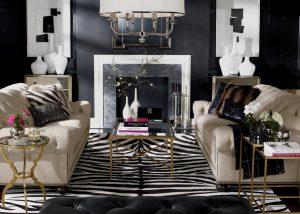 sala de estar com lareira cinza e branco e dois vasos brancos 300x214 - Cores escuras em pequenos espaços? Sim você pode! (Veja como)