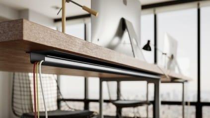 trilho em baixo da mesa - Construa um escritório funcional em casa em 6 etapas fáceis. Confira!