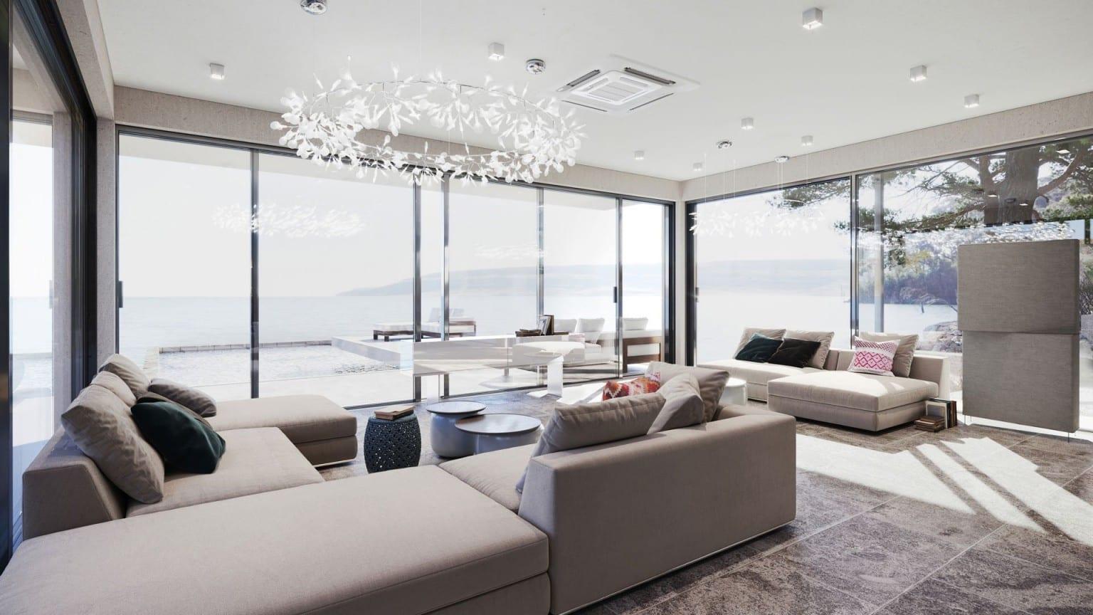 Sala de estar com portas de vidro - 5 dicas de marketing para um Designer de Interiores