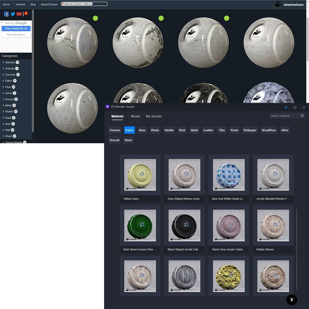 Share Textures materiais - D5 Render - nova solução para renderizações de alto nível com Ray Tracing