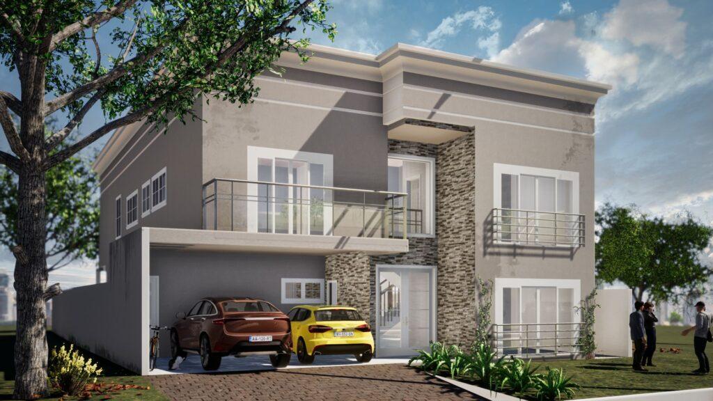 cena de uma casa renderizada com twinmotion