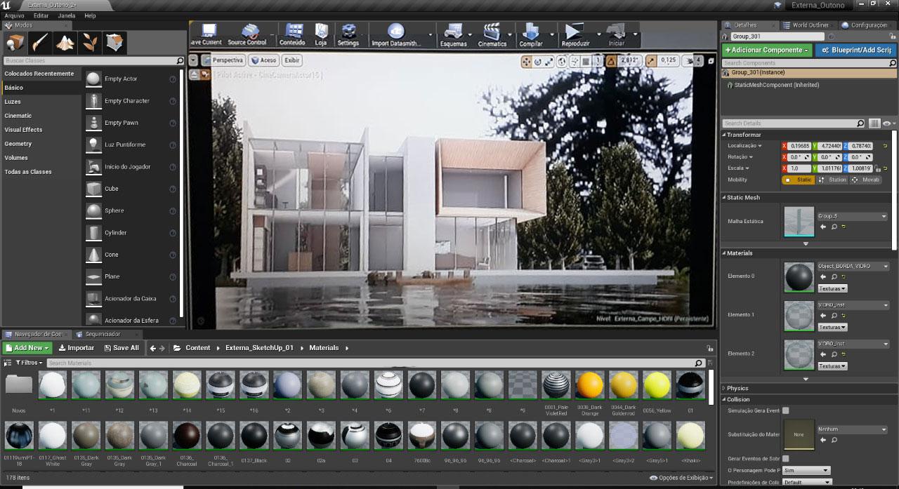 tela do unreal com projeto arquitetonico