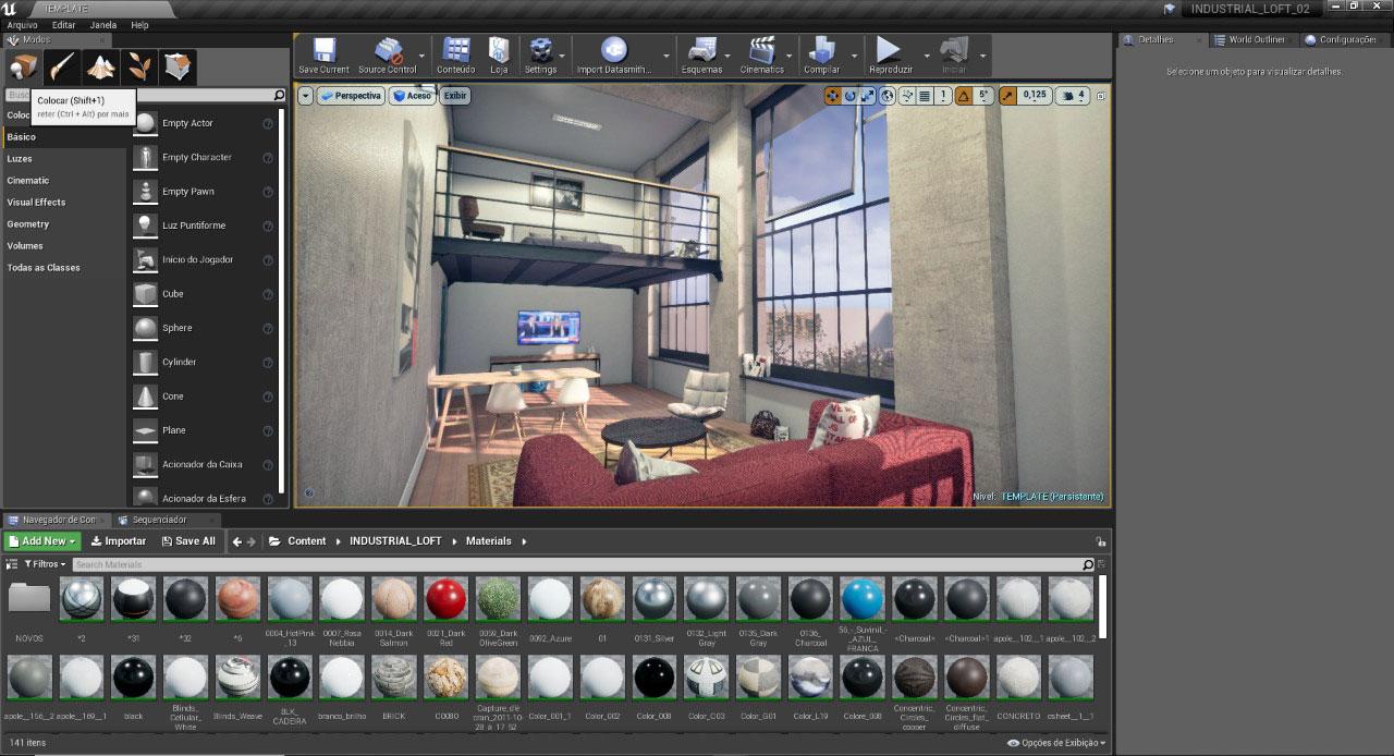tela da unreal engine com projeto de uma sala
