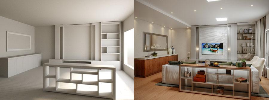 sala de estar e aparador modelado em 3dsmax e renderizado com o corona render