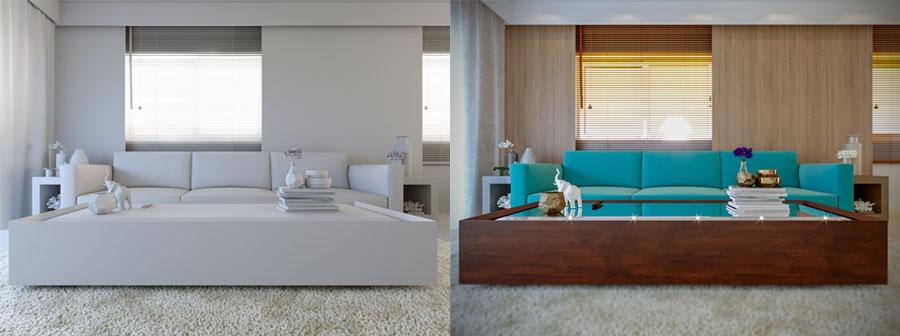 sala de estar criado com o 3dsmax e renderizada com o corona render