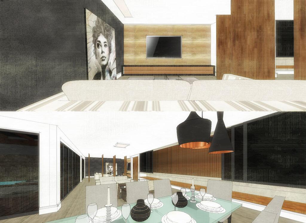 duas cenas internas de uma casa criadas com o Sketchup
