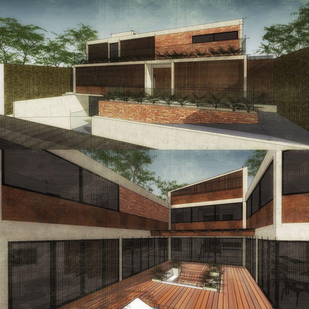 duas cenas externas de uma casa criadas com Sketchup