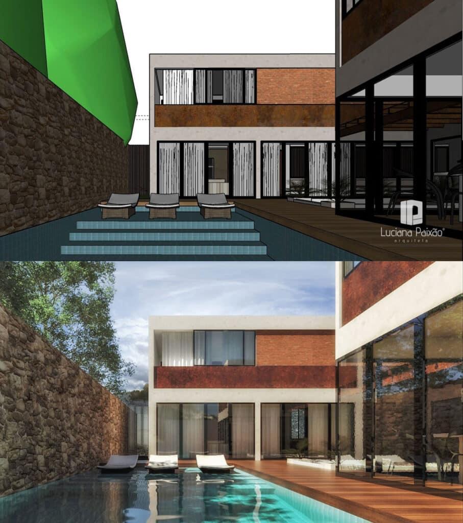 cena 3D em Sketchup e após renderização no V-Ray